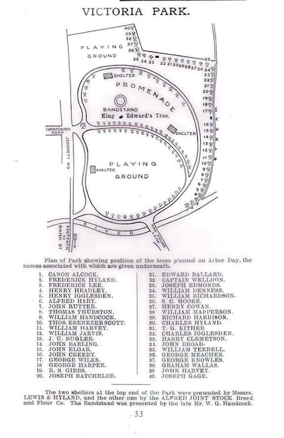 Plan of trees and structures in Edwardian Park